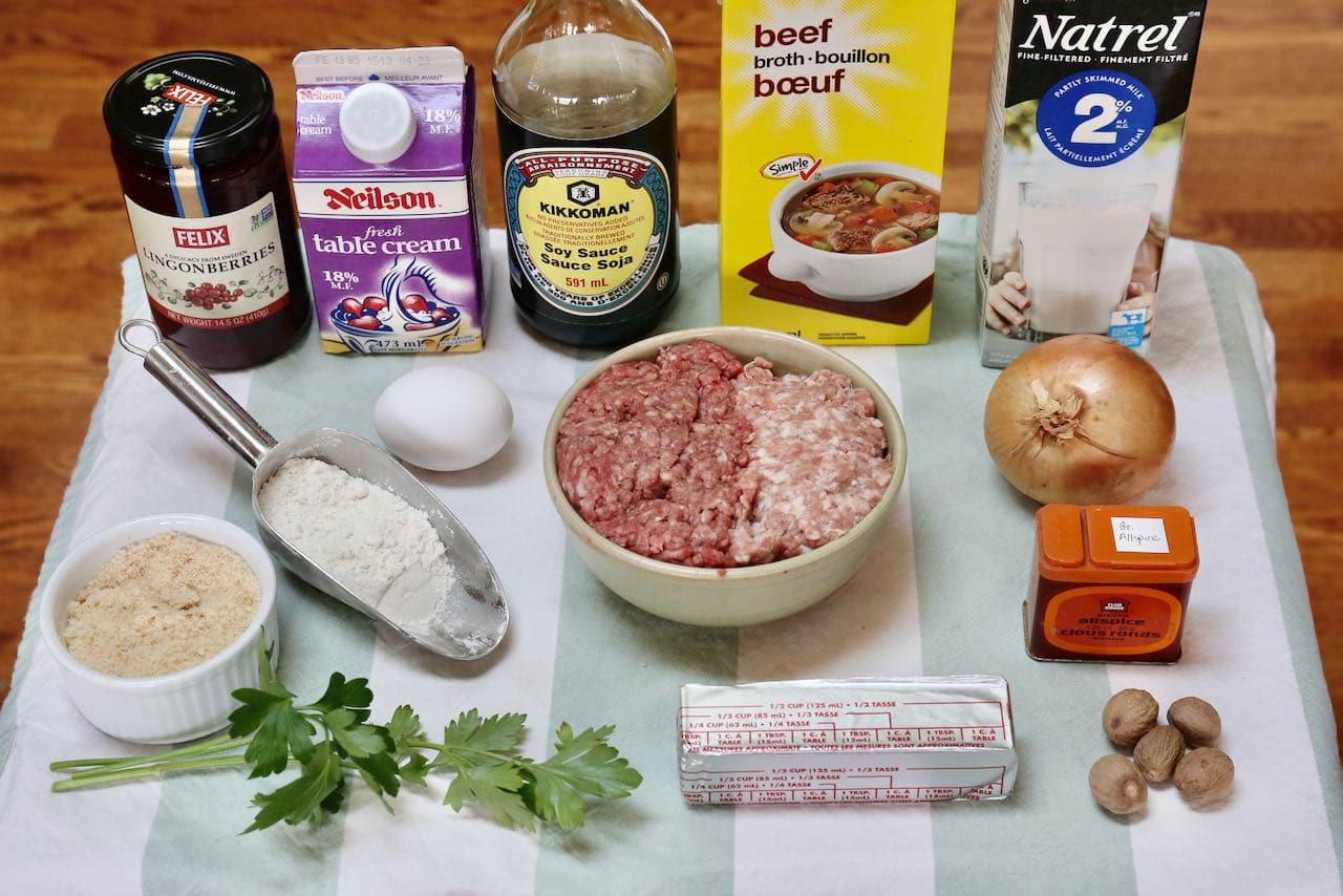Authentic Swedish Köttbullar recipe ingredients.