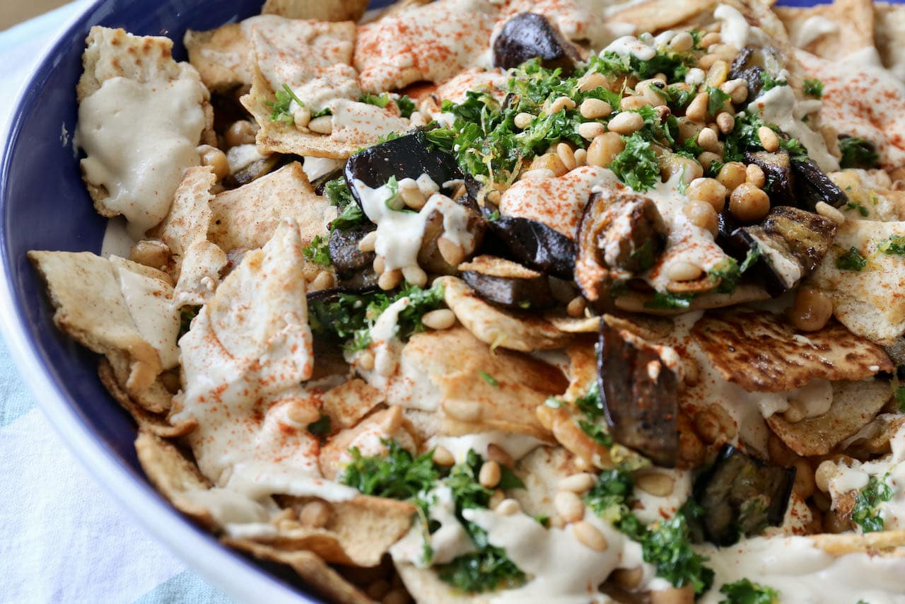 Eggplant Fatteh is our favourite warm vegetarian Lebanese salad recipe.