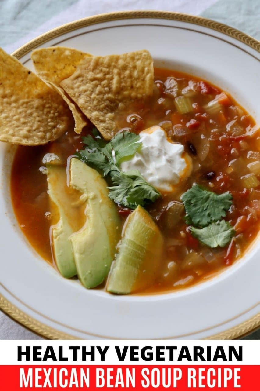 Save our Healthy Vegetarian Chipotle Mexican Bean Soup Recipe to Pinterest!
