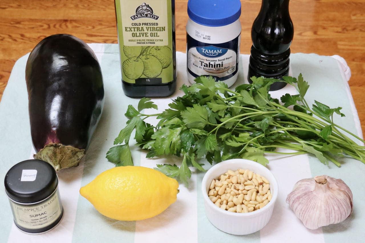Authentic Mutabbal recipe ingredients.
