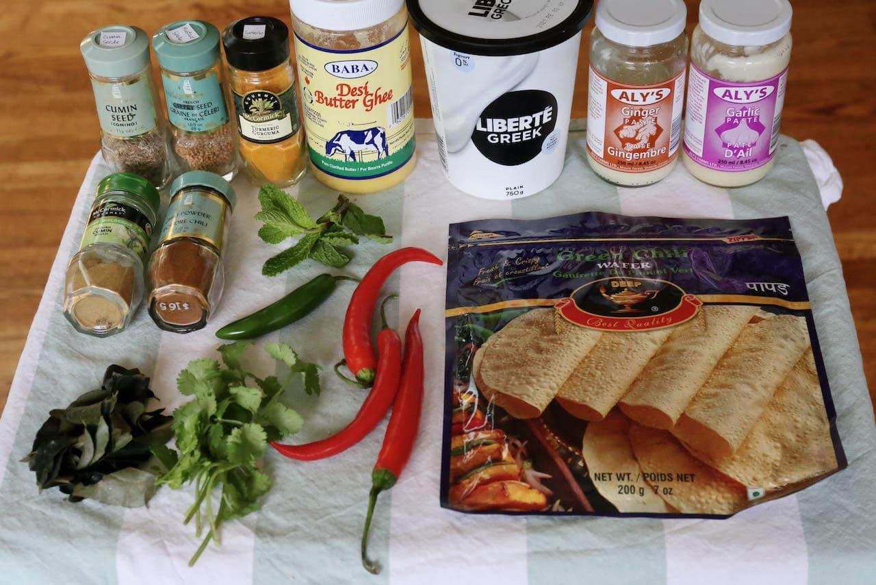 Traditional Papad Ki Subji ingredients.