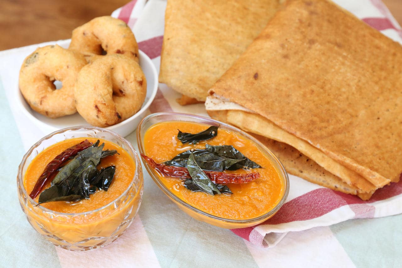 Serve Tomato Chutney For Dosa with vegetarian South Indian snacks and entrees.