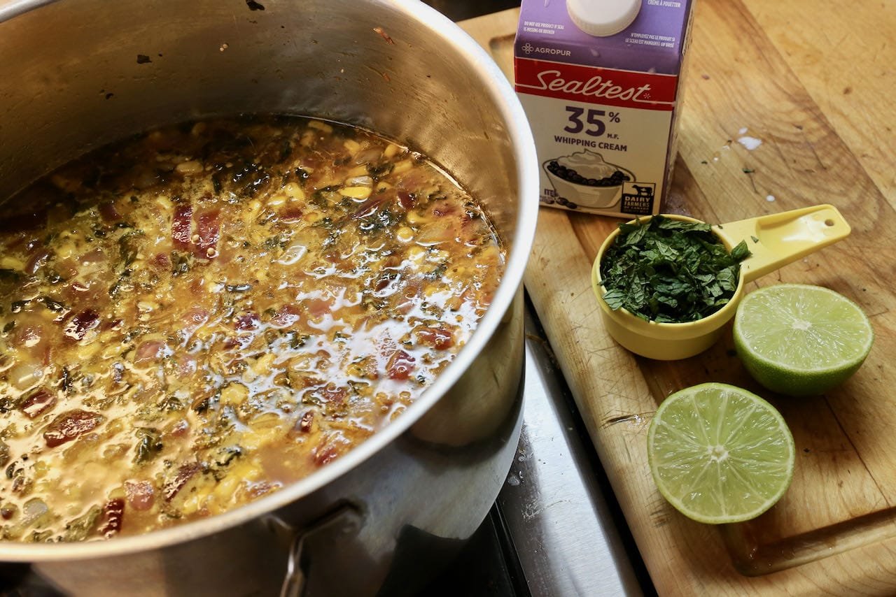 Flavour Peruvian Quinoa Soup with fresh mint, lime and whipping cream.