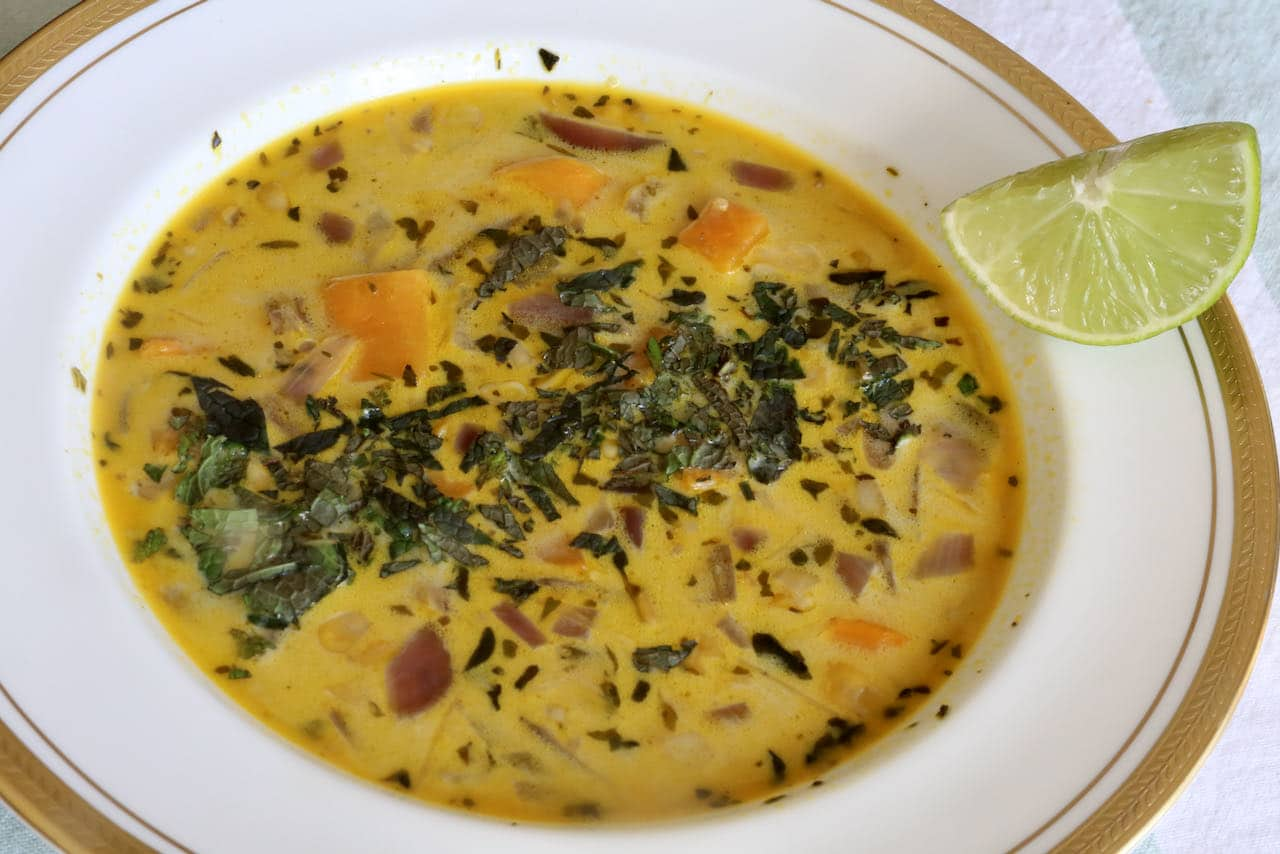 Our Peruvian Quinoa Soup features healthy sweet potatoes, red onions and corn.