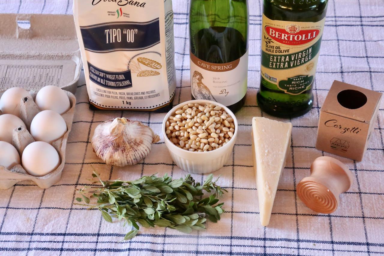 Traditional Corzetti Pasta recipe ingredients.