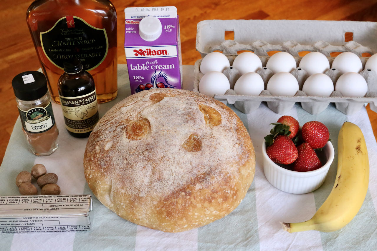 Sourdough French Toast ingredients.