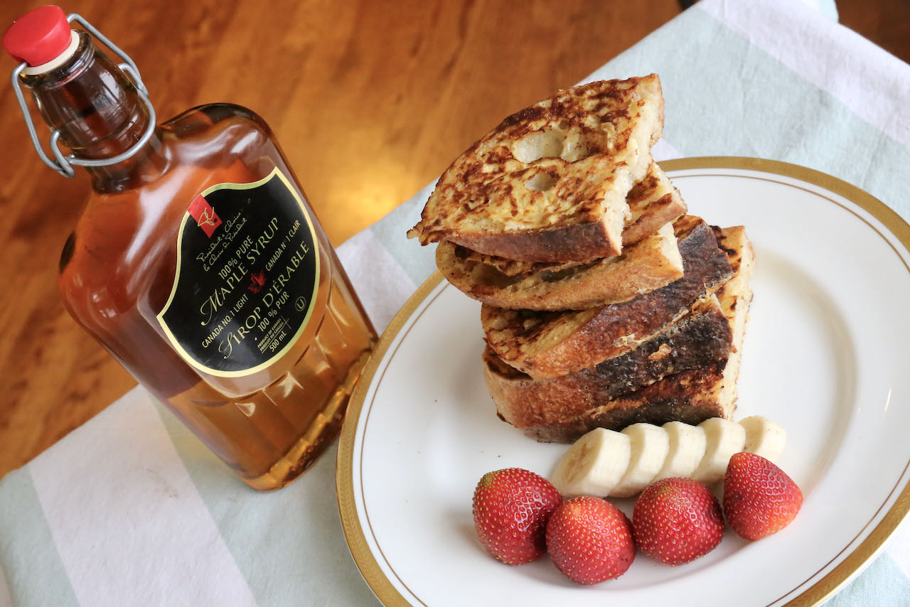 Keep Sourdough French Toast slices in a 200 F oven to keep warm before serving.