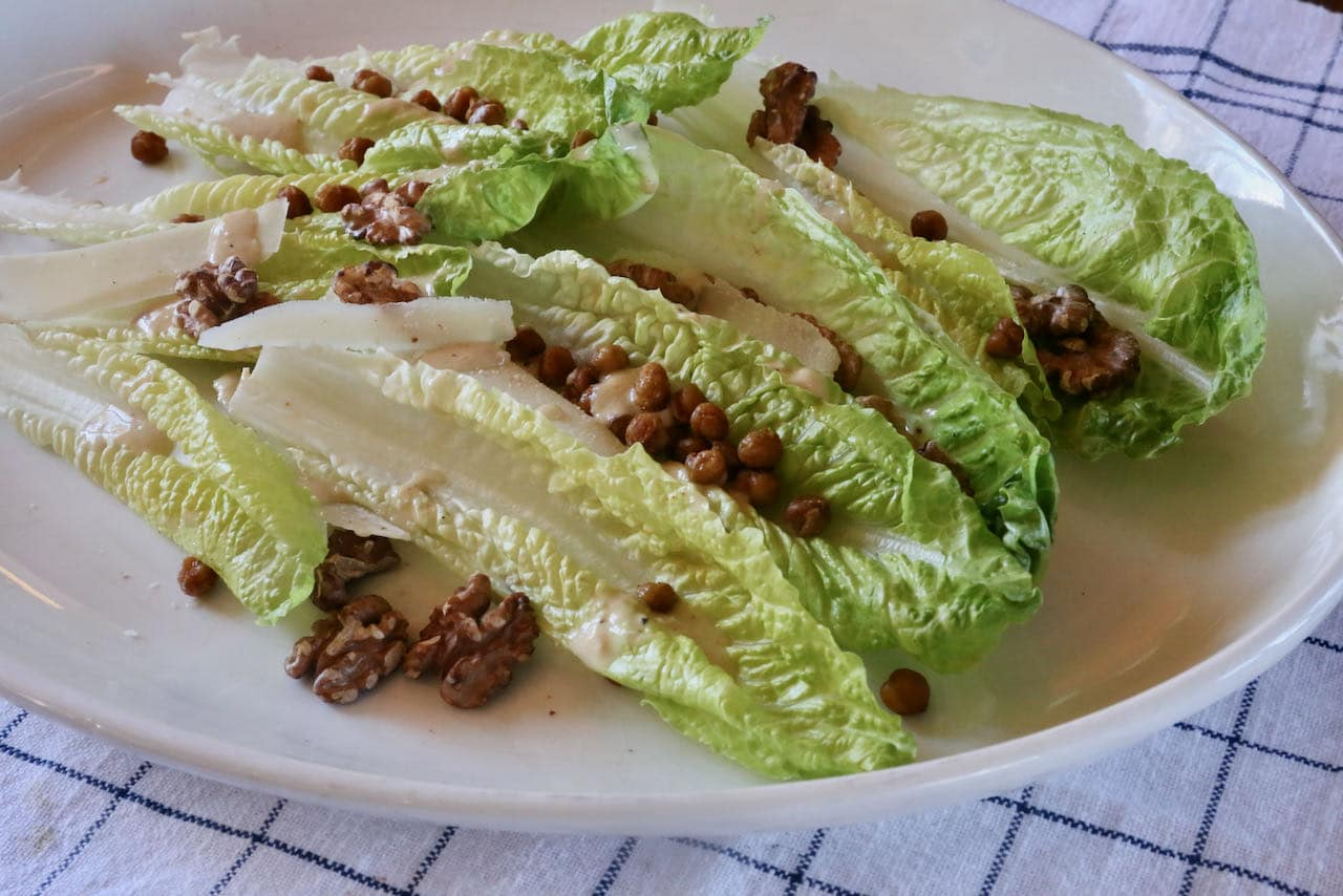 Tahini Caesar Dressing is a hit at healthy salad potlucks or Middle Eastern themed dinner parties.