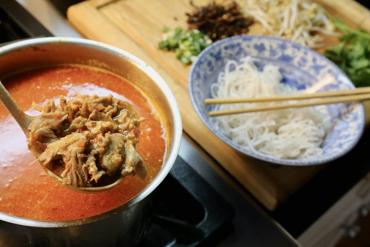 Thai Pork Rib Soup is prepared with a rich broth, vermicelli noodles and fresh herbs.