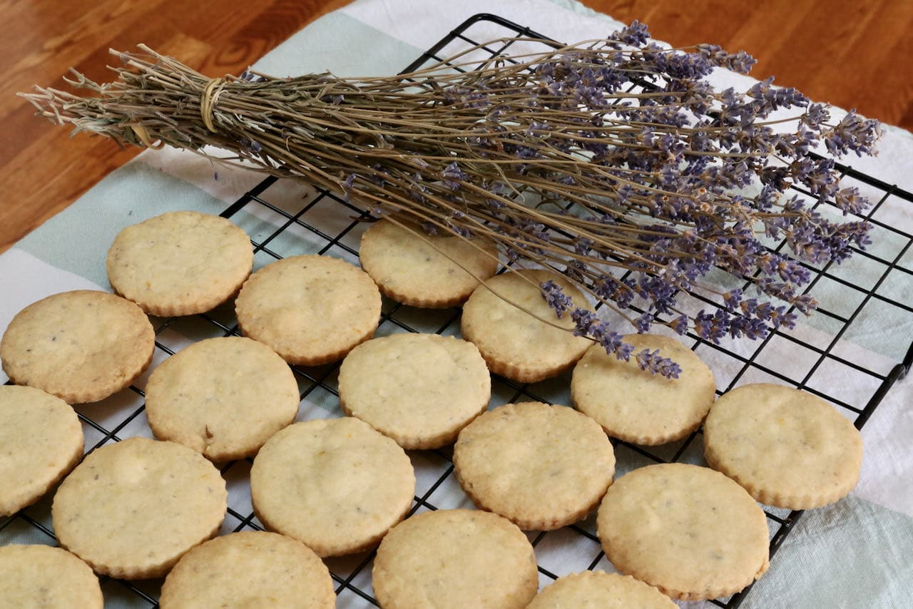 Cool Lavender Biscuits on a rack before eating.