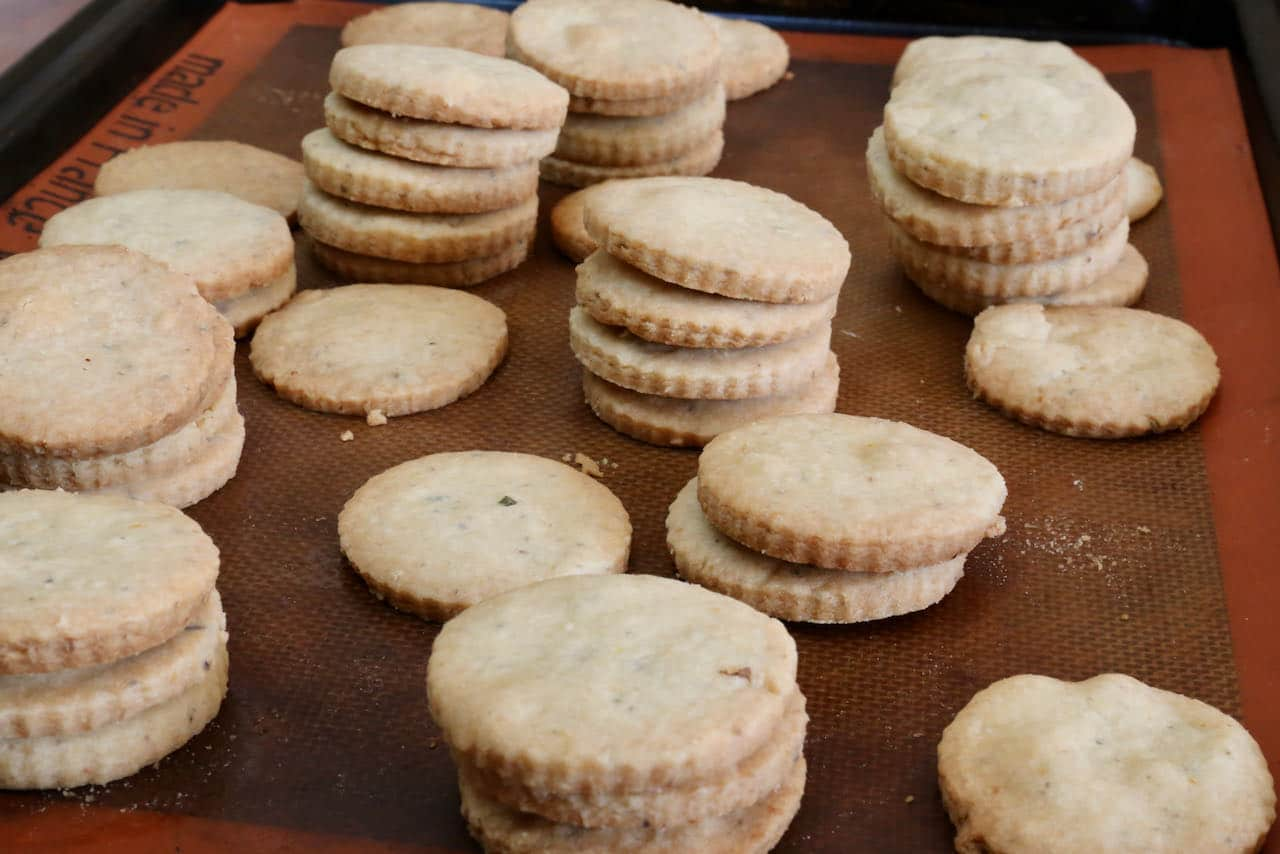 Lemon Lavender Cookies are finished baking once lightly browned.