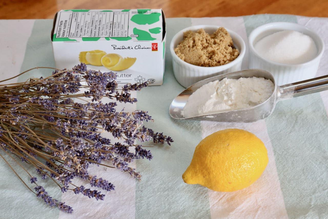 Homemade Lemon Lavender Cookies recipe ingredients.