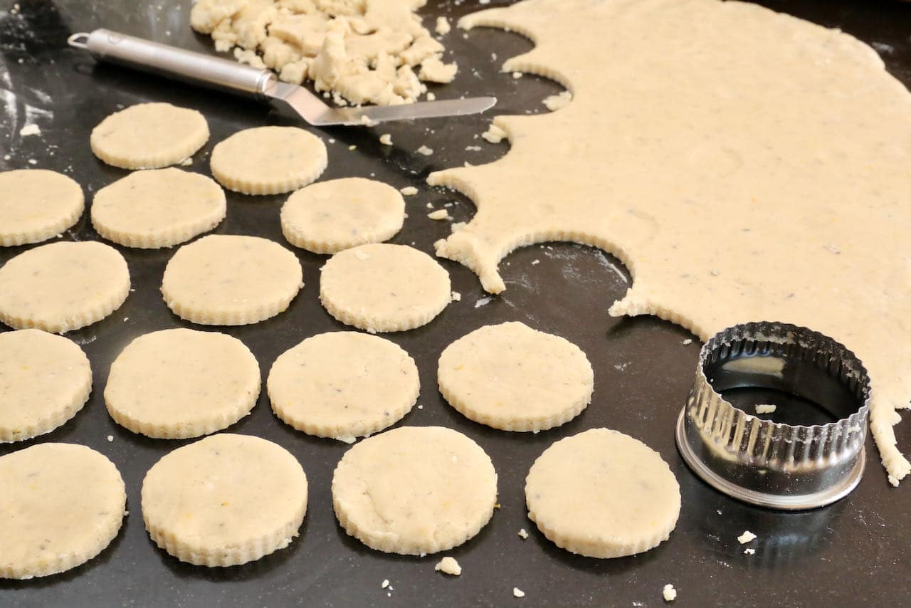 After rolling out the cookie dough, use a circular cutter to make Lavender Shortbread Cookies.