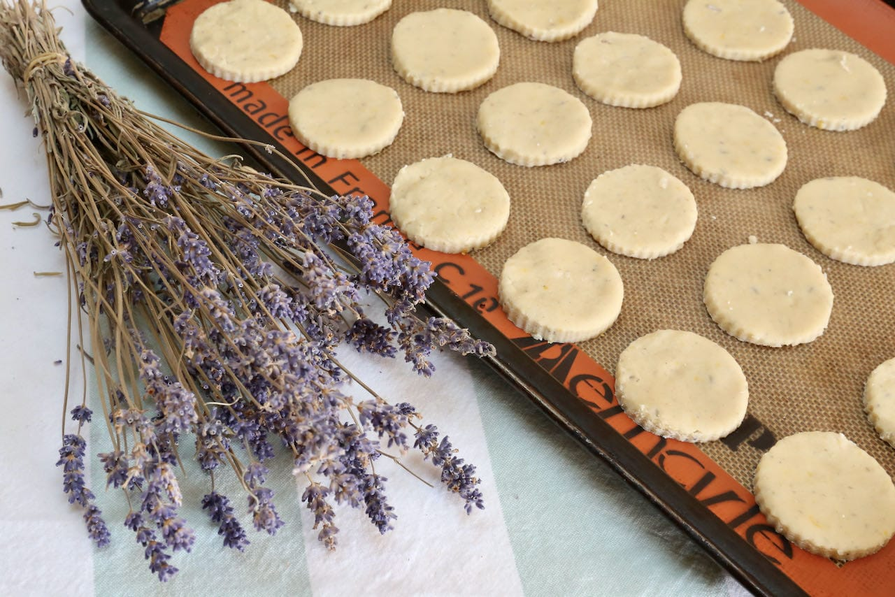 Our Lemon Cookies are flavoured with culinary lavender.