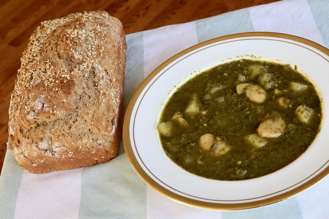 Serve Pkaila Butter Bean Stew with freshly baked bread or healthy salads.