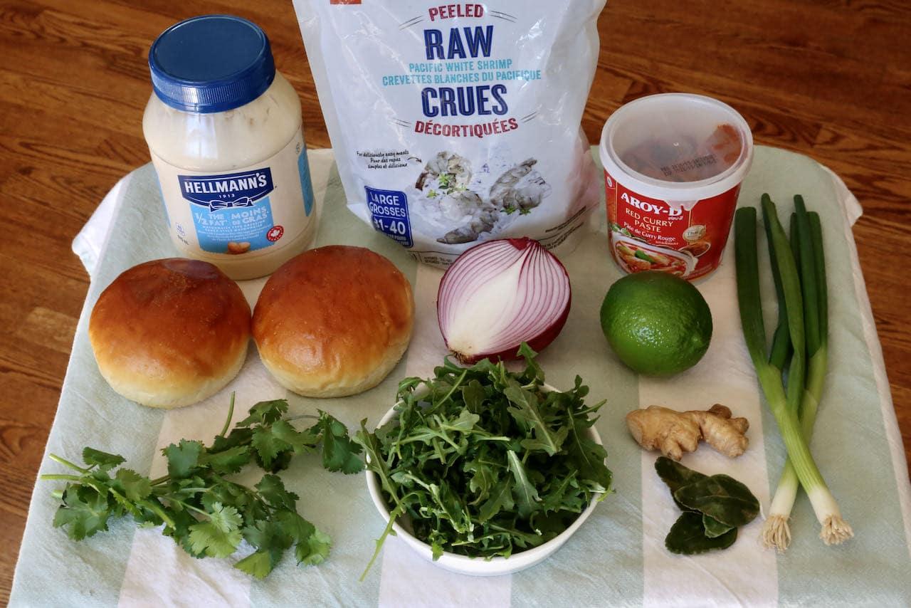 Red Curry Prawn Burger recipe ingredients.