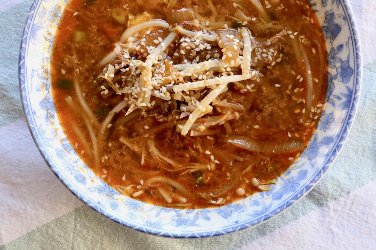 Most Popular Soups in the World: Korean Spicy Gukbap Rice & Beef Brisket Stew.
