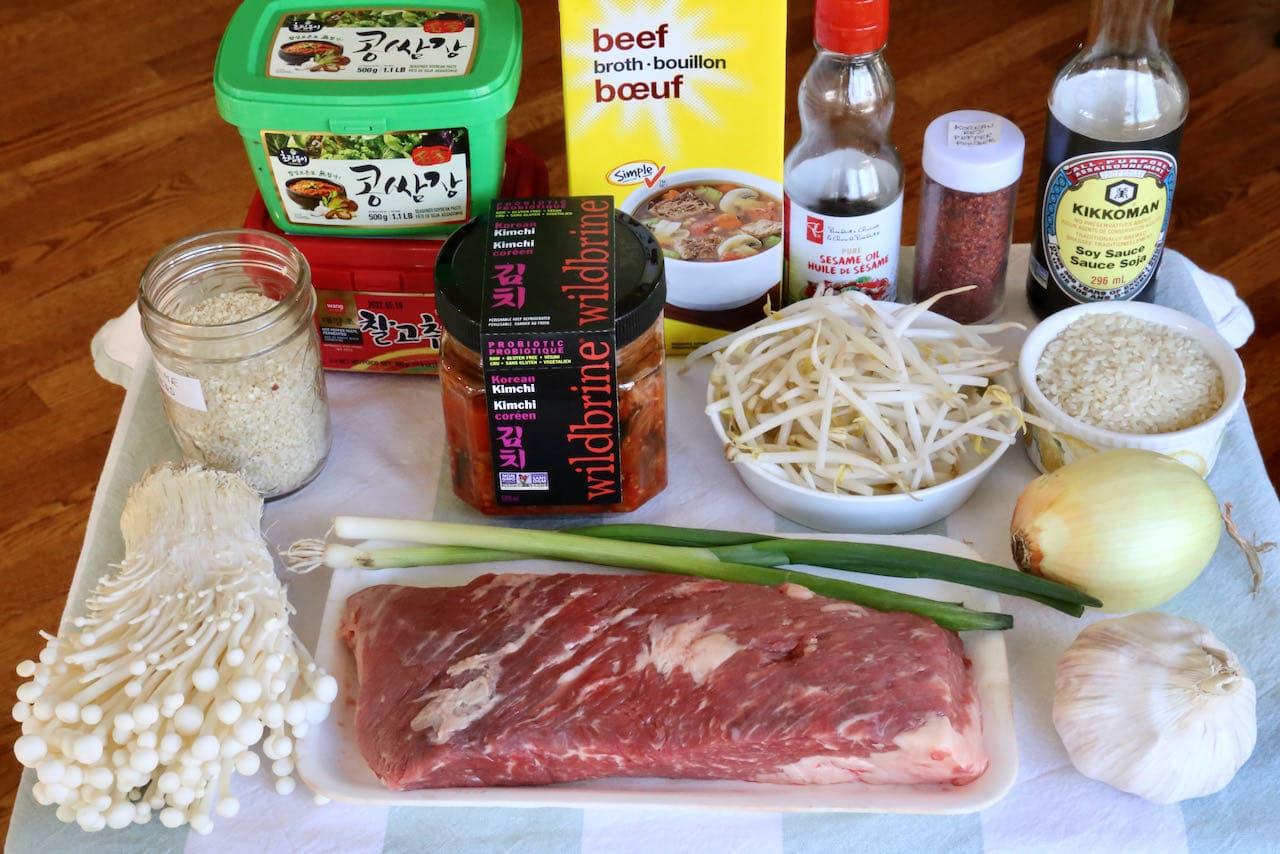 Homemade Korean Gukbap ingredients.
