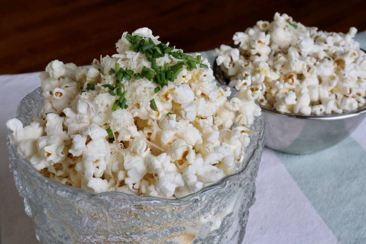 Serve Air Fryer Popcorn in one large bowl to share with that special someone or in small bowls with friends.