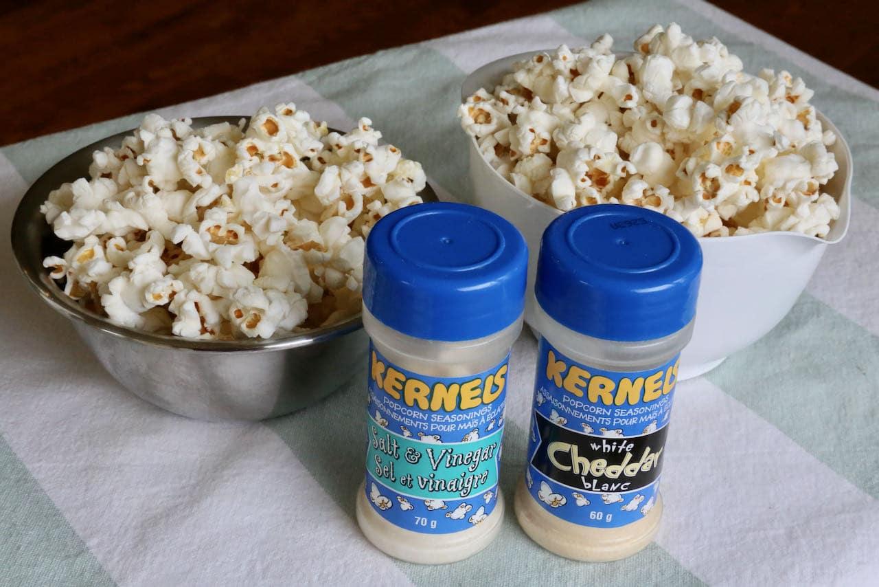 Host an Air Fryer Popcorn movie night party by offering guests fun popcorn seasonings.
