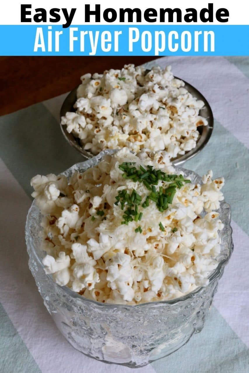 Save our Easy Homemade Air Fryer Popcorn Recipe to Pinterest!