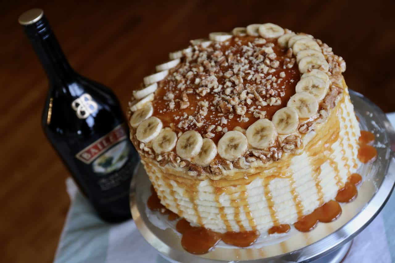 Our Banoffee Cake recipe is flavoured with Baileys Irish Whiskey Cream.