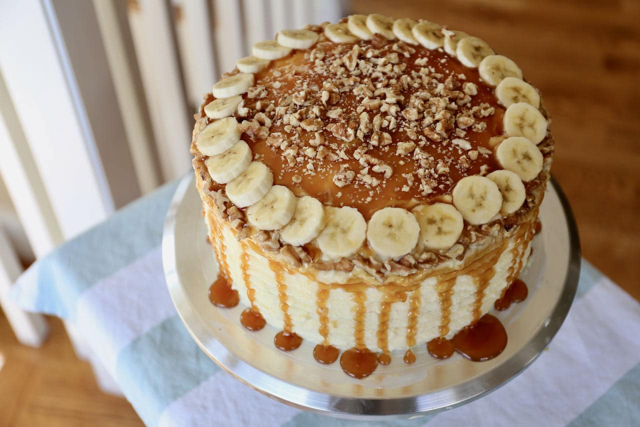 Homemade Banoffee Cake is the perfect dessert for birthday parties, Mother's Day, Father's Day and Christmas!