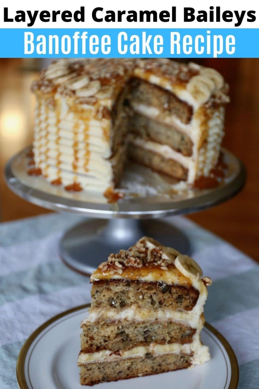 Save our homemade layered Banoffee Cake recipe to Pinterest!