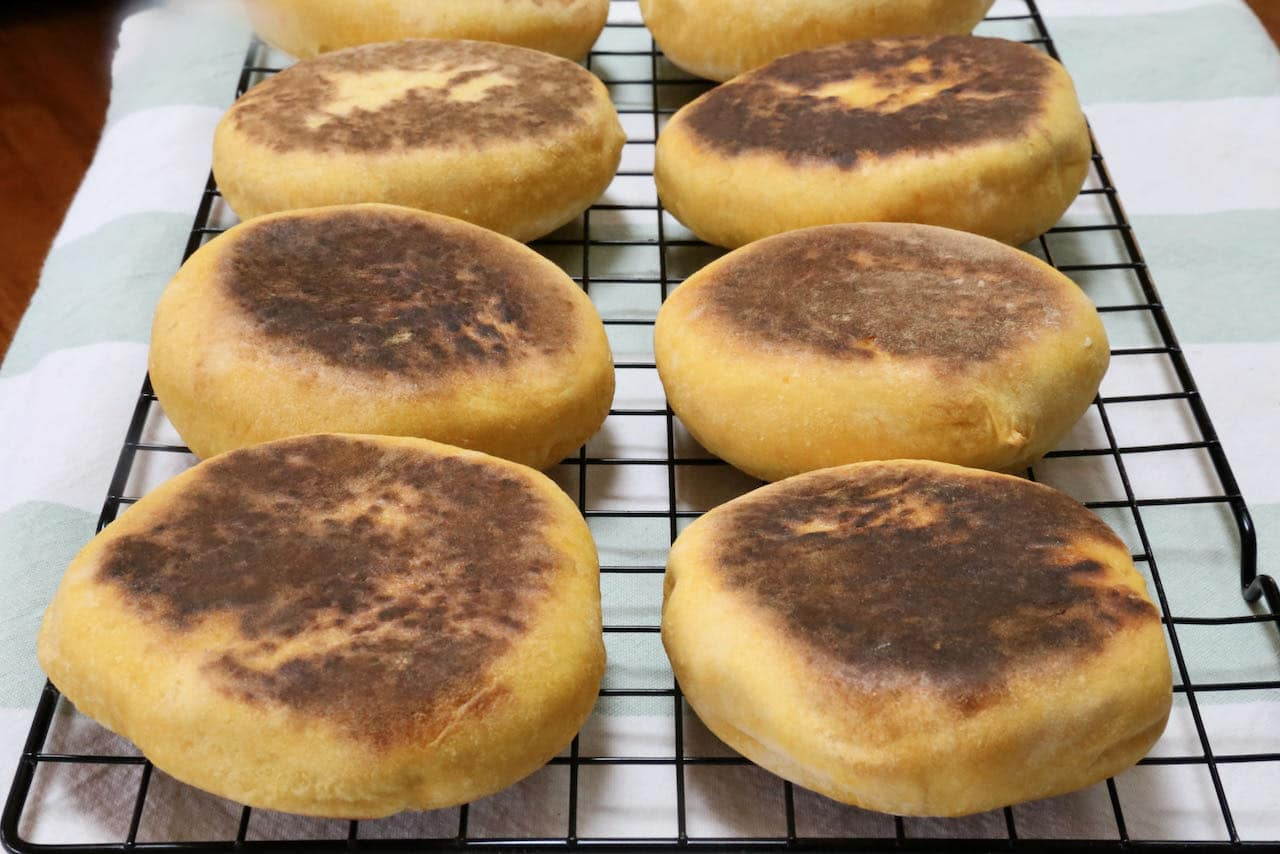 Bolo de Cacao are finished cooking when the exterior is browned and crunchy and interior is soft.