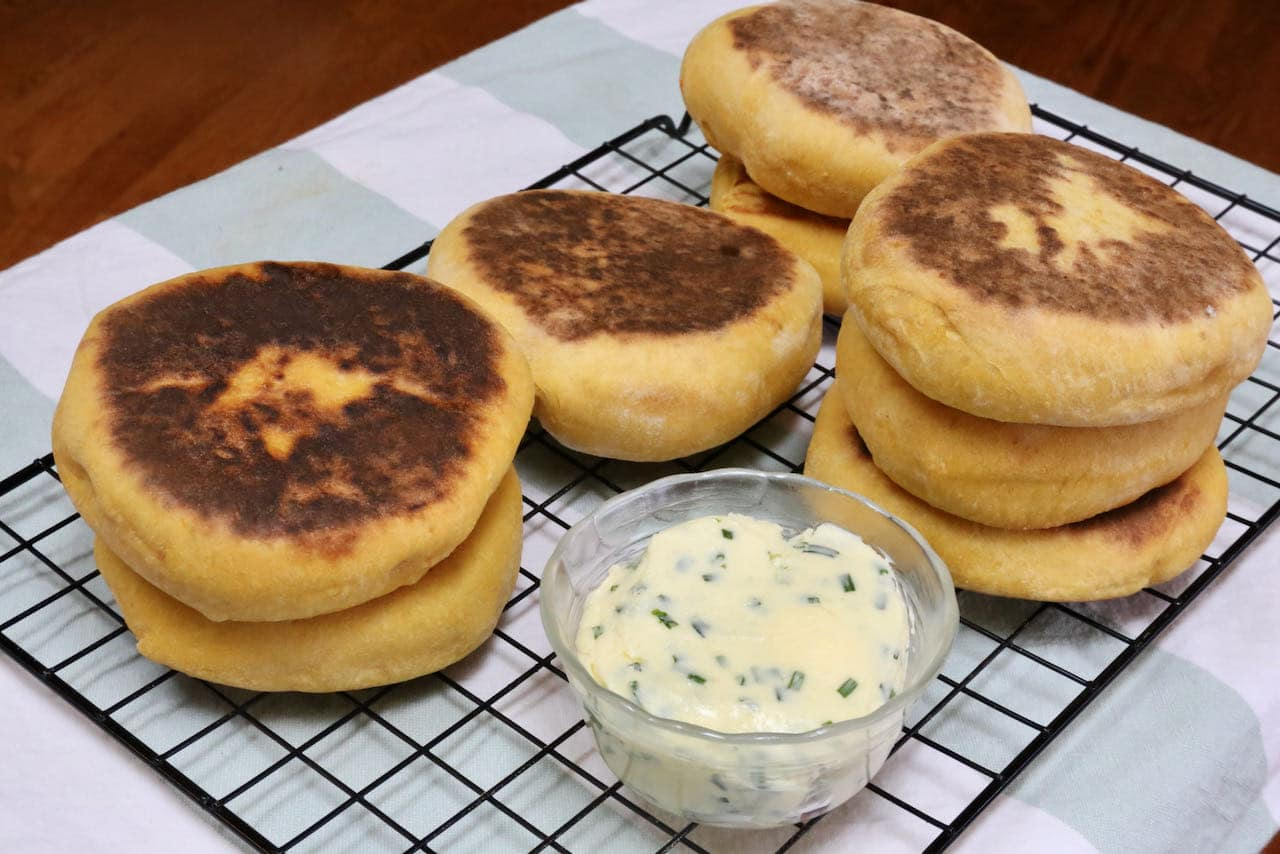 We love serving Bolo de Caco with homemade chive butter.