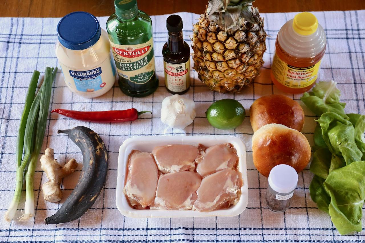 Homemade Jerk Chicken Burger ingredients.