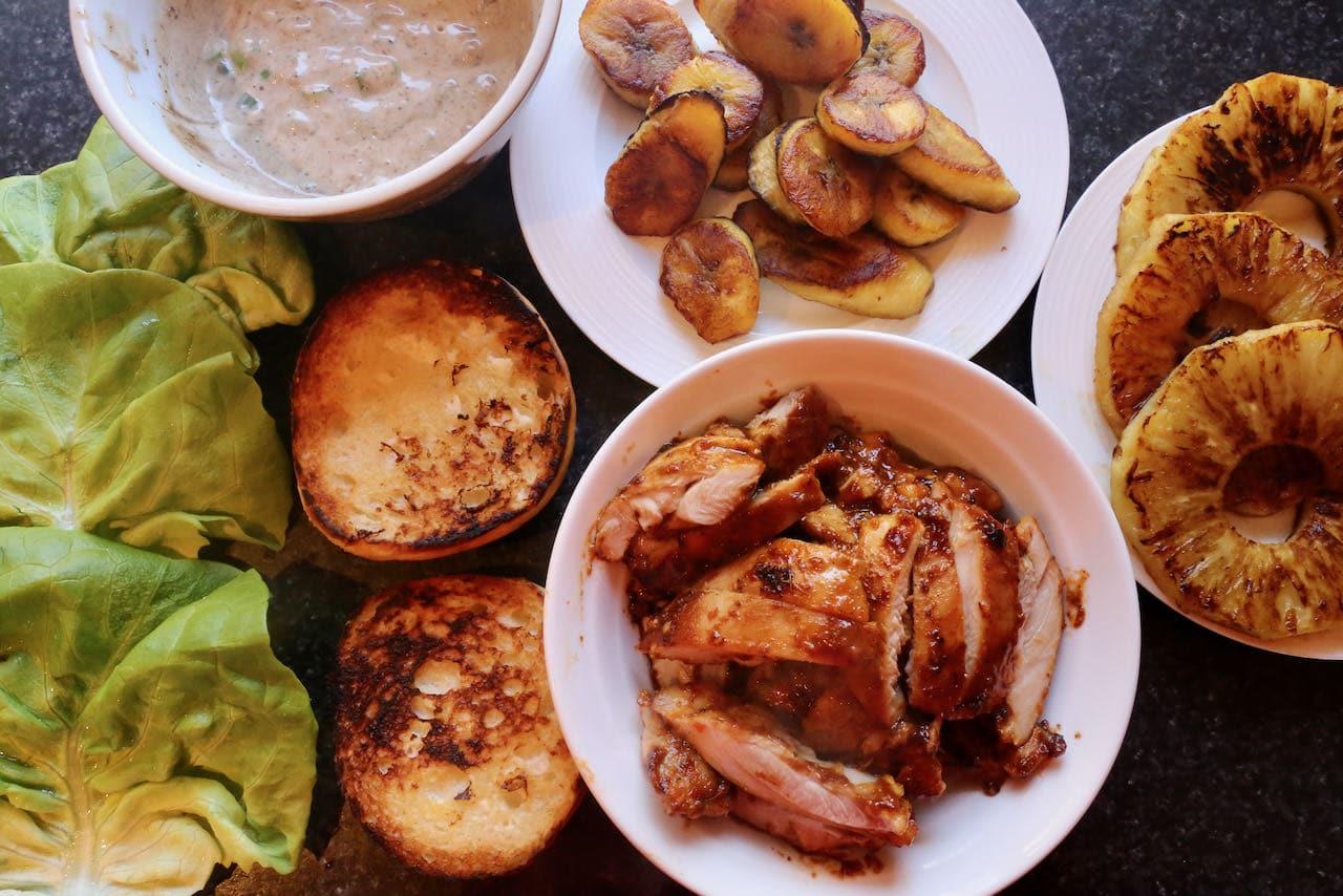Jamaican Jerk Chicken Burger assembly.