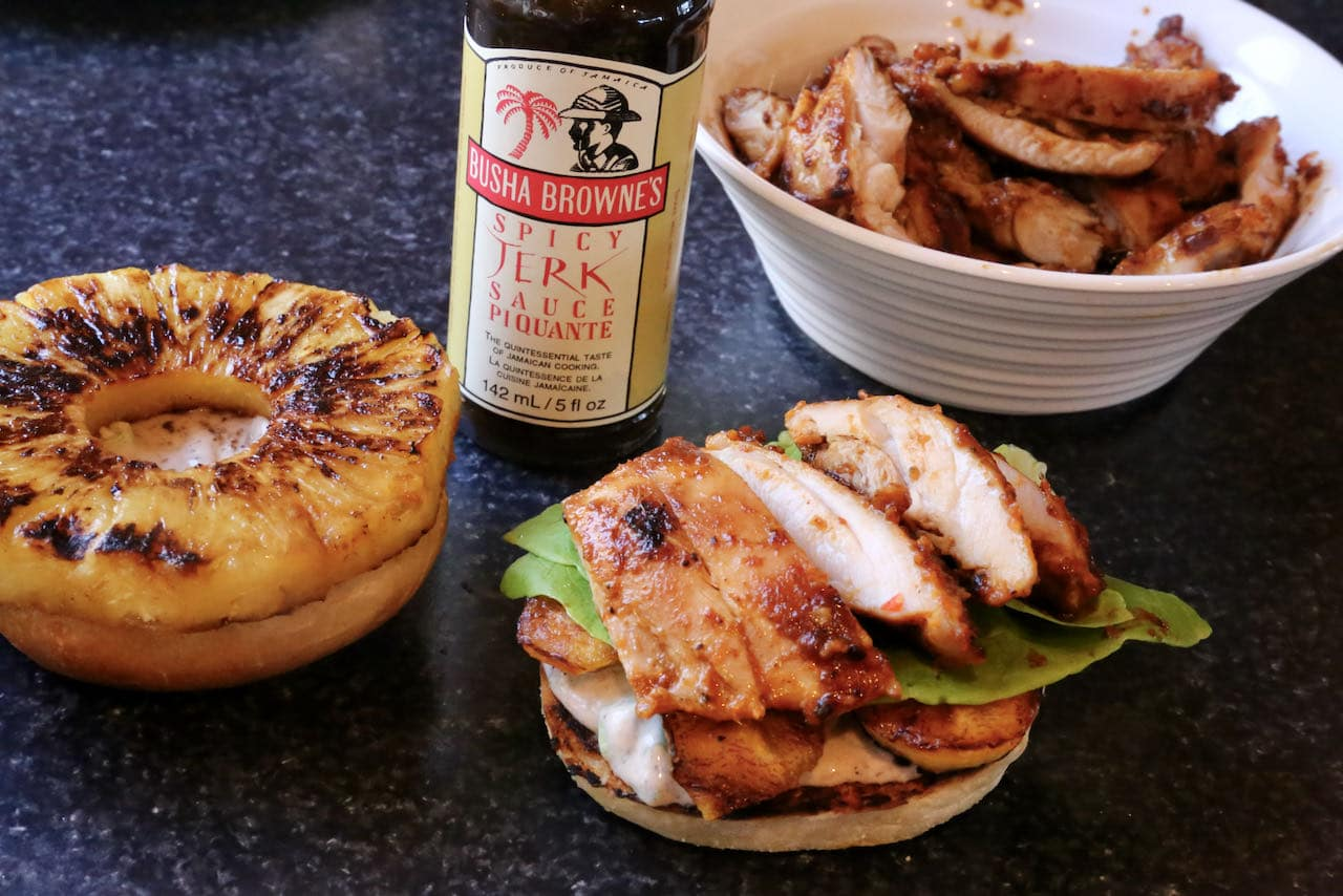 Fill each Jerk Chicken Burger with tropical pineapple & plantain, creamy Jerk mayo and crispy lettuce.