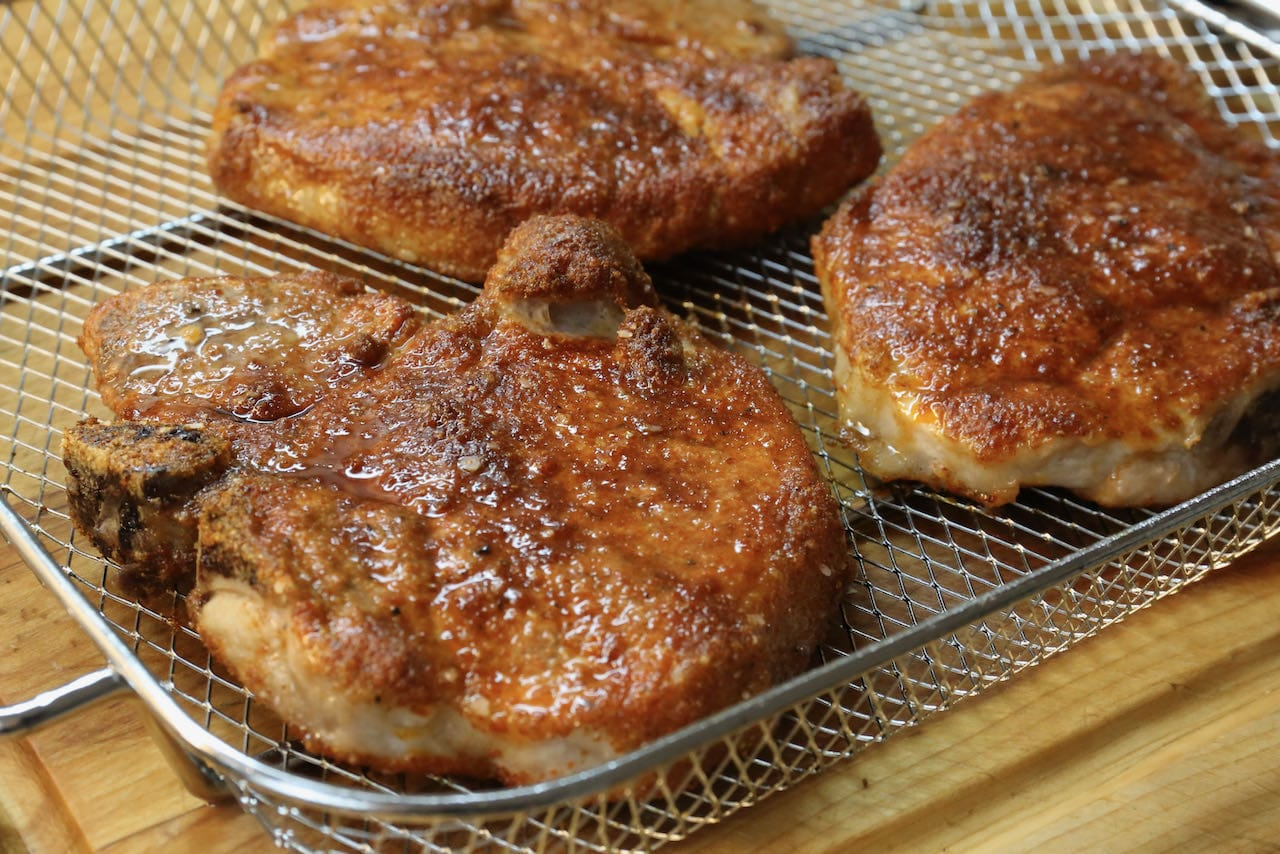 Easy Seasoned Air Fryer Bone In Pork Chops Recipe