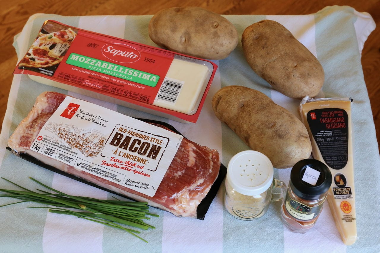 Potato Skins in Air Fryer recipe ingredients.