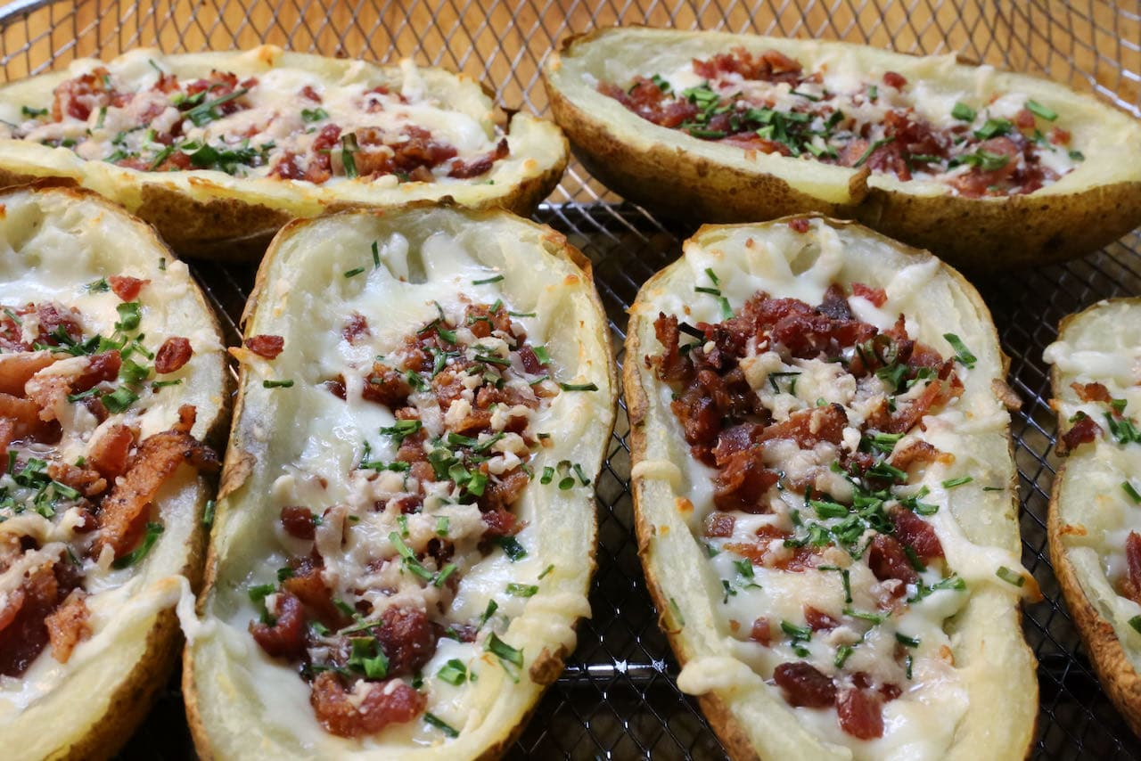 Air Fryer Potato Skins cooked to perfection!