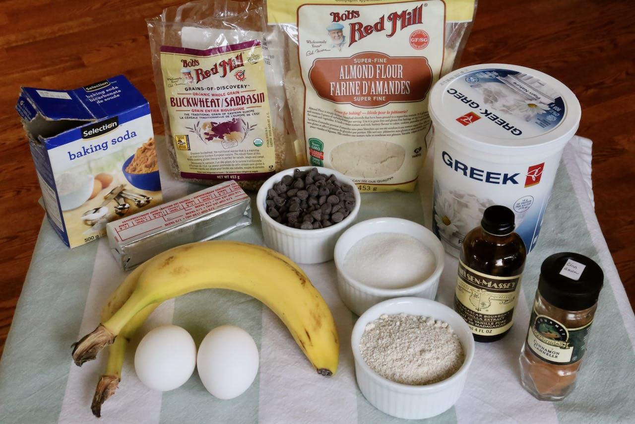 Gluten Free Banana Chocolate Chip Muffins recipe ingredients.