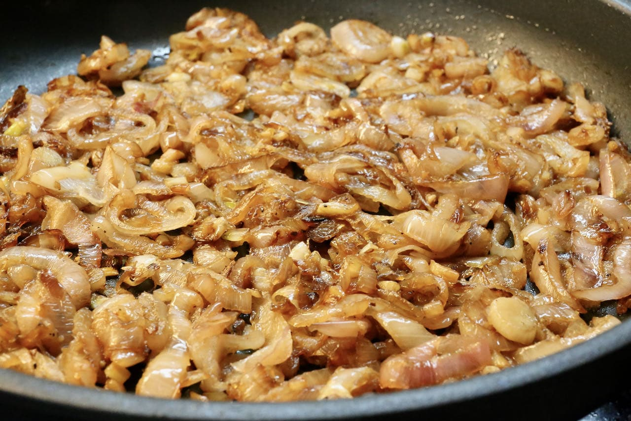 Caramelized shallots should be cooked low and slow until browned.