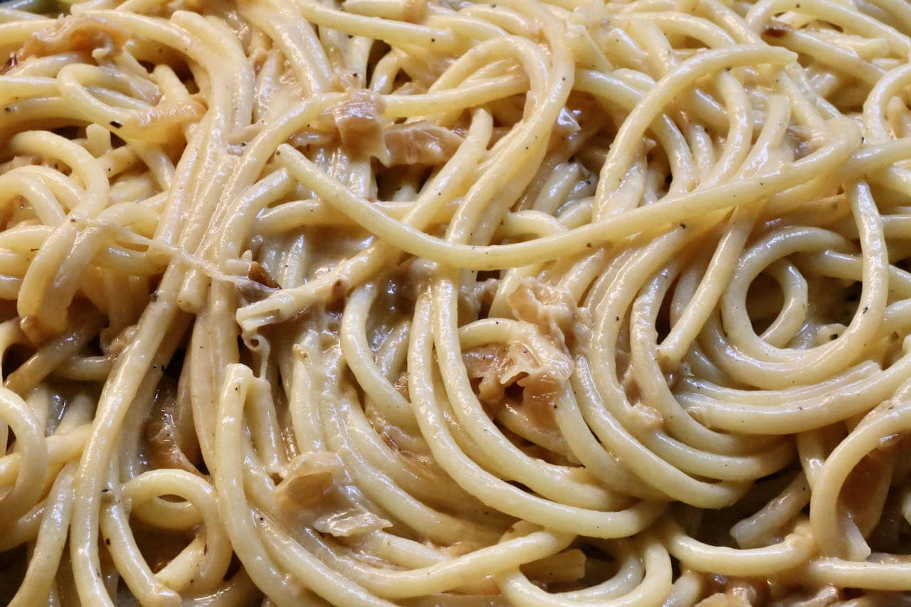 We've used bucatini in our caramelized shallot pasta recipe.