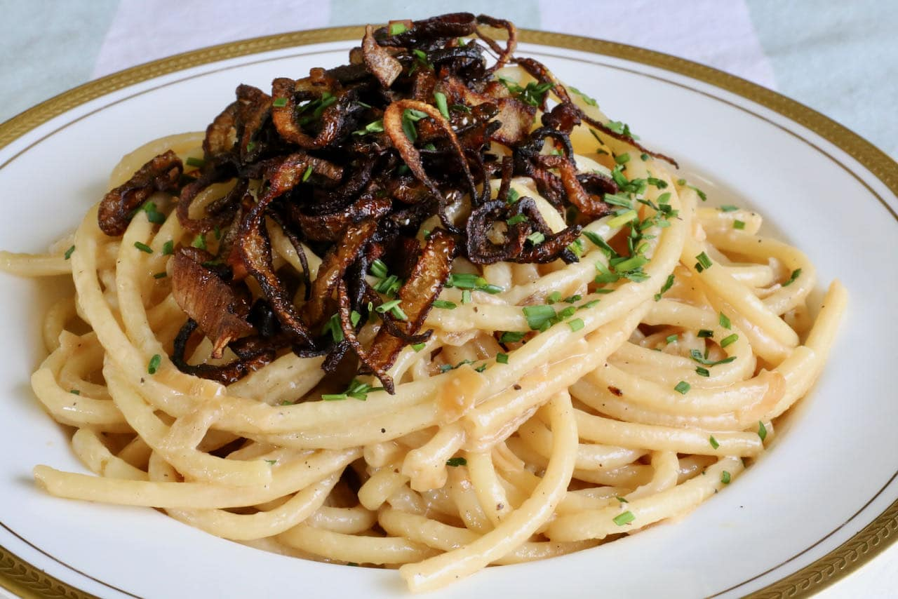 Caramelized Shallot Pasta is a comforting main dish to cook for an Italian themed dinner party.