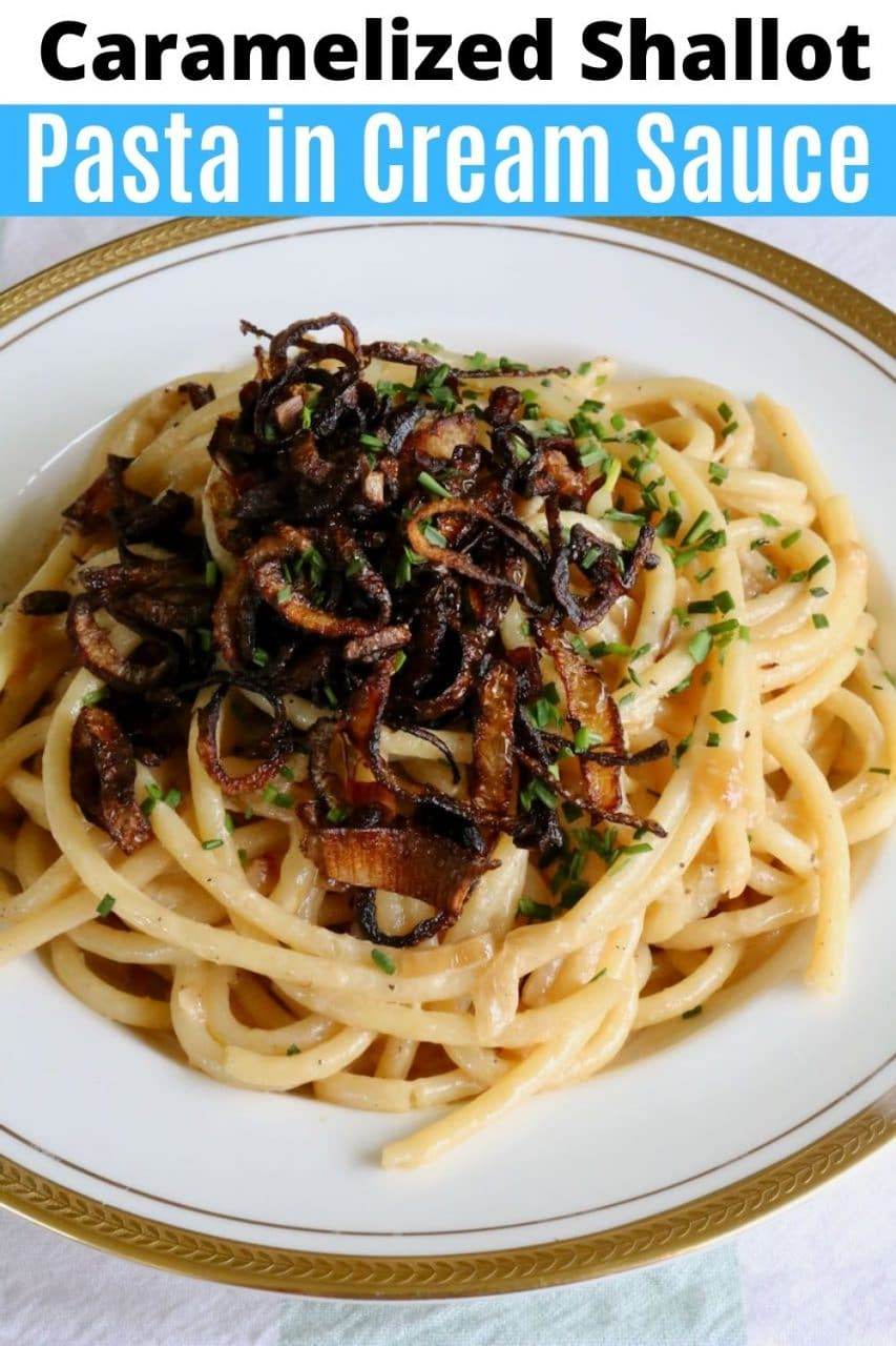 Save our Caramelized Shallot Pasta in Cream Sauce recipe to Pinterest!
