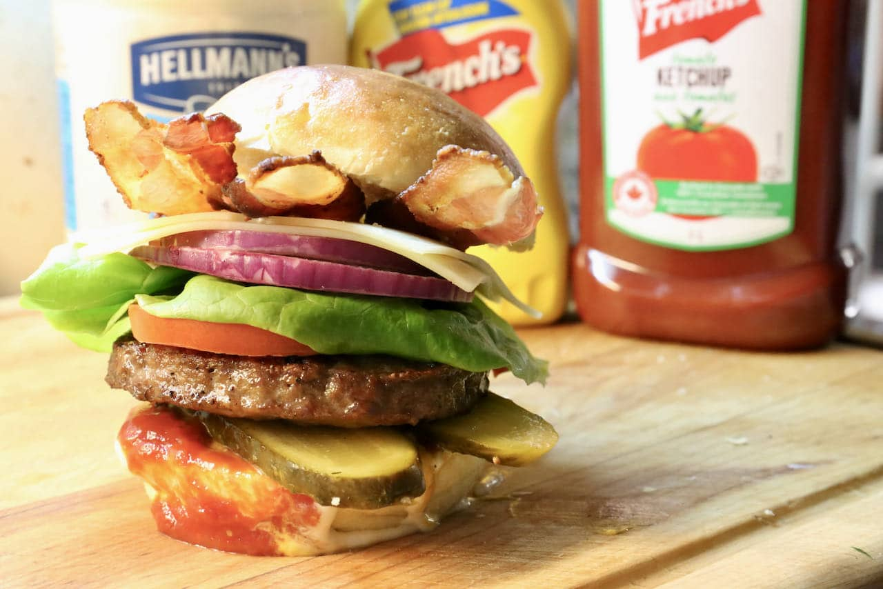 Our favourite burger condiments include mayonnaise, mustard and ketchup.