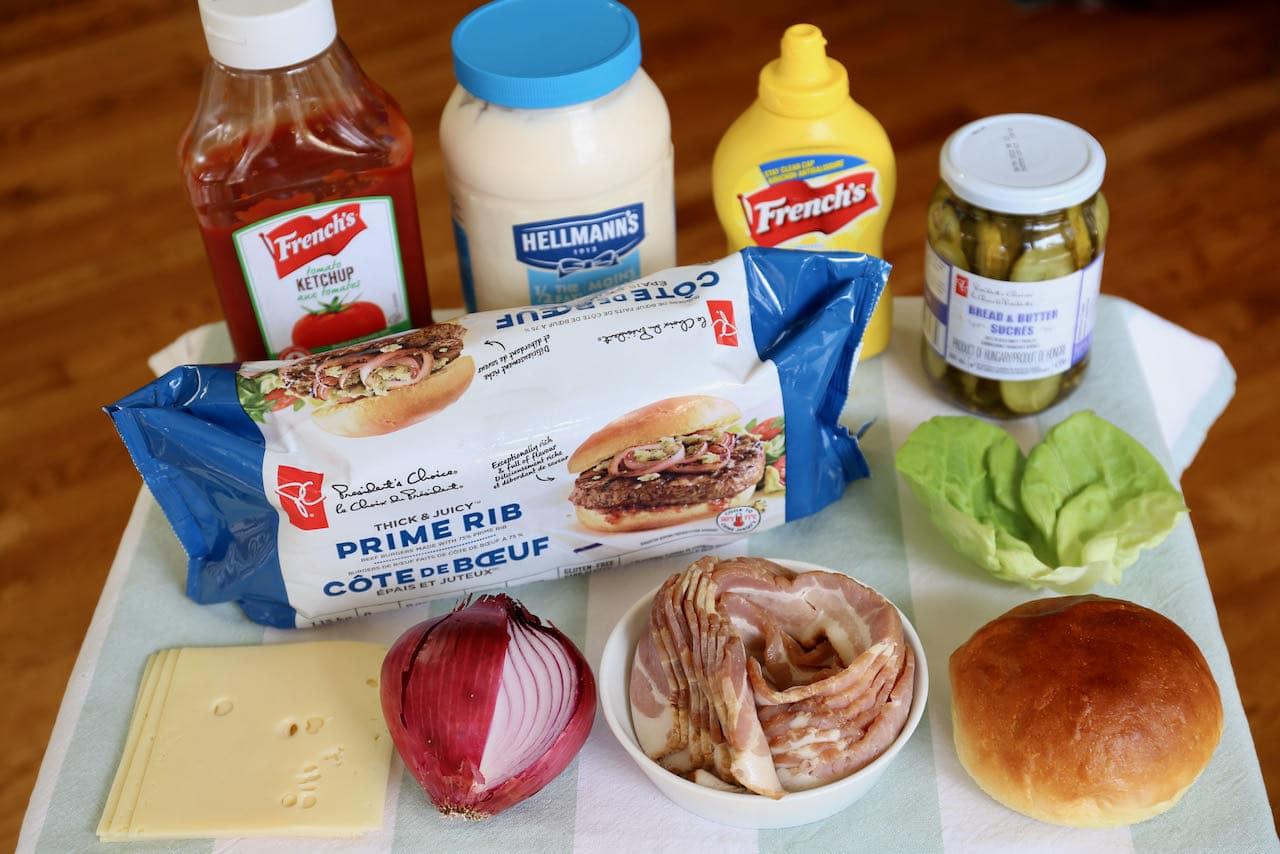 Frozen Burgers In Air Fryer recipe ingredients.
