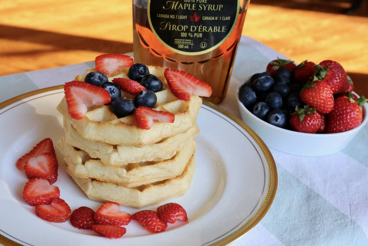 Serve Frozen Eggo Waffles for brunch with fresh berries and maple syrup.