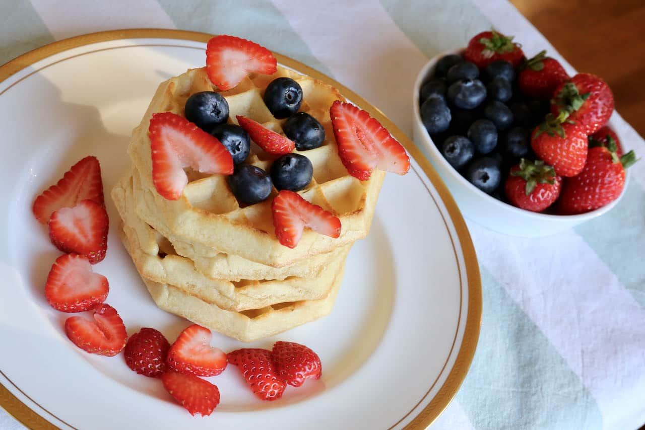 Serve a stack of Eggo waffles as a dessert with ice cream, nuts, berries, sliced banana or chocolate sauce.