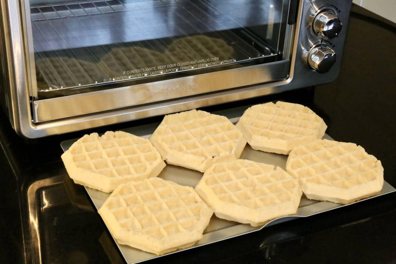 Place Frozen Eggo Waffles in an Air Fryer tray.