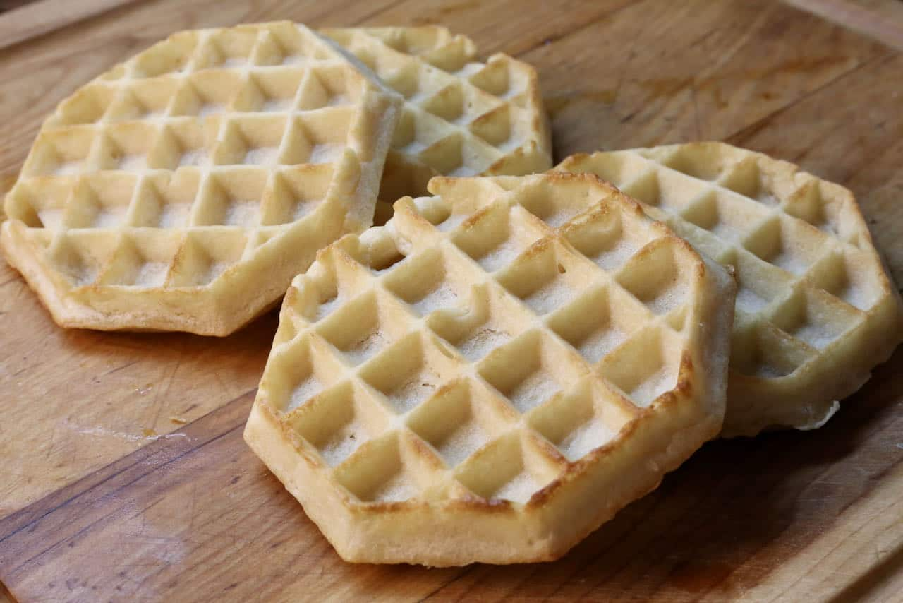 Frozen Eggo Waffles are finished cooking in the air fryer once browned and crunchy.