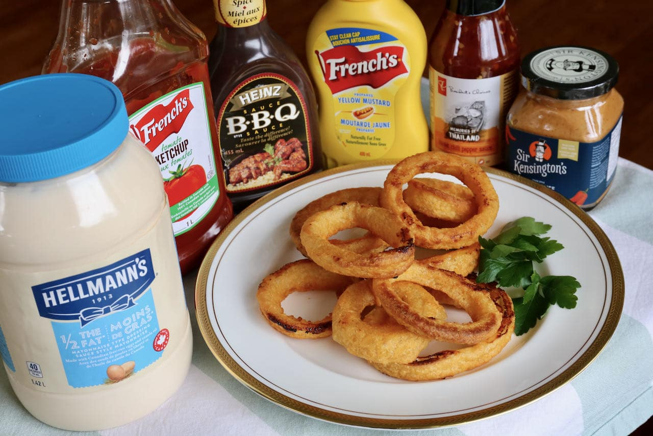 Serve air fryer frozen onion rings with your favourite dips.