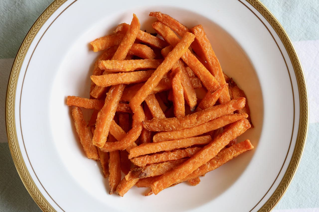 Sweet potato fries are an easy vegetarian snack or side dish.