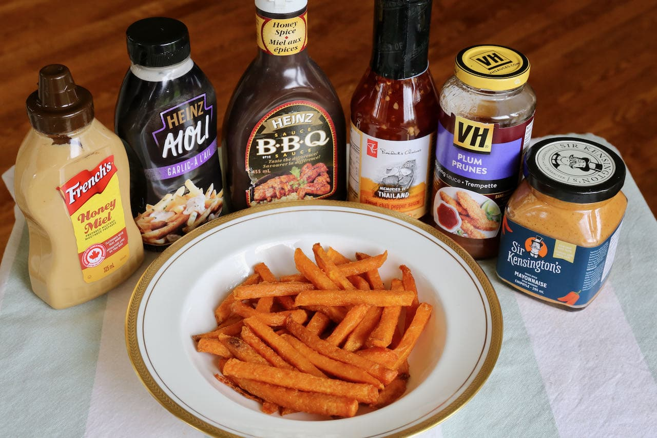 Enjoy Frozen Sweet Potato Fries cooked in an Air Fryer with your favourite dips.